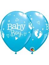 """Baby Boy Footprints 11"""" Latex Balloons 25pk"""