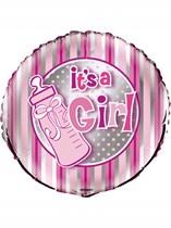 """Baby Shower It's a Girl 18"""" Stripe Foil Balloon"""