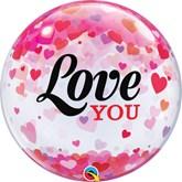 """Valentine's Love You Confetti 22"""" Bubble Balloon"""