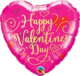 "Pink Happy Valentine's Day Script 18"" Heart Foil Balloon"