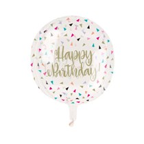 "Colourful Birthday 15"" Clear Sphere Balloon"