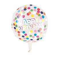 "Polka Dot Birthday 15"" Clear Sphere Balloon"