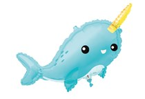 """Giant Blue Narwhal 37"""" Foil Balloon"""