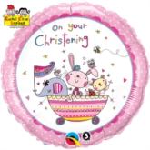"Rachel Ellen On Your Christening Pink 18"" Foil Balloon"