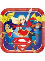 "DC Superhero Girls 9"" Square Paper Plates 8pk"