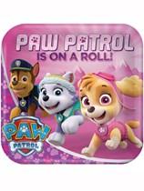 "Paw Patrol Pink 9"" Square Paper Plates 8pk"