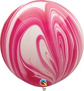 """Red & White SuperAgate 30"""" (2.5ft) Latex Balloons 2pk"""