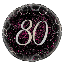 "Pink Glitz 80th Birthday 18"" Foil Balloon"