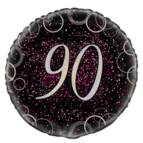 "Pink Glitz 90th Birthday 18"" Foil Balloon"