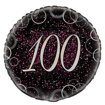 "Pink Glitz 100th Birthday 18"" Foil Balloon"