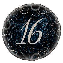 "Blue Glitz 16th Birthday 18"" Foil Balloon"