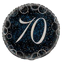 "Blue Glitz 70th Birthday 18"" Foil Balloon"