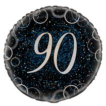 "Blue Glitz 90th Birthday 18"" Foil Balloon"