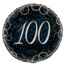"Blue Glitz 100th Birthday 18"" Foil Balloon"