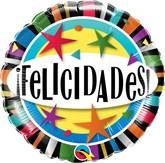 """Felicidades Stars 18"""" Foil Balloon"""