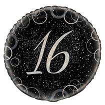 "Silver Glitz 16th Birthday 18"" Foil Balloon"