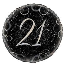 "Silver Glitz 21st Birthday 18"" Foil Balloon"