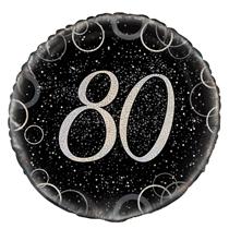 "Silver Glitz 80th Birthday 18"" Foil Balloon"