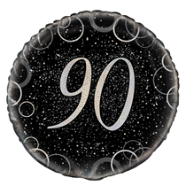 "Silver Glitz 90th Birthday 18"" Foil Balloon"