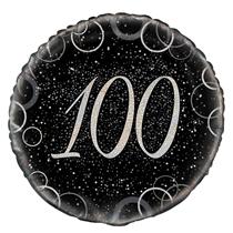 "Silver Glitz 100th Birthday 18"" Foil Balloon"