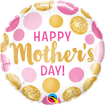 """Mother's Day Pink & Gold Dots 18"""" Foil Balloon"""