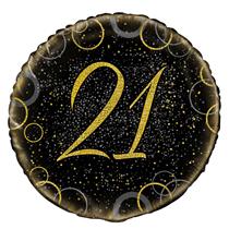 "Gold Glitz 21st Birthday 18"" Foil Balloon"