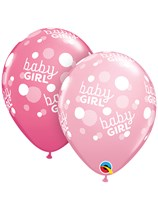 Baby Girl Pink Dots A Round Latex Balloons 25pk