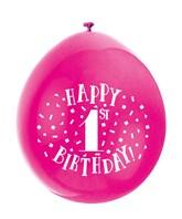 Assorted Colour 1st Birthday Latex Balloons 10pk
