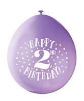 Assorted Colour 2nd Birthday Latex Balloons 10pk