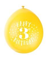 Assorted Colour 3rd Birthday Latex Balloons 10pk