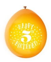 Assorted Colour 5th Birthday Latex Balloons 10pk