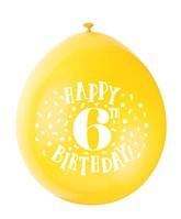 Assorted Colour 6th Birthday Latex Balloons 10pk
