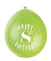 Assorted Colour 8th Birthday Latex Balloons 10pk