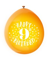Assorted Colour 9th Birthday Latex Balloons 10pk