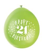 Assorted Colour 21st Birthday Latex Balloons 10pk