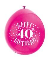 Assorted Colour 40th Birthday Latex Balloons 10pk
