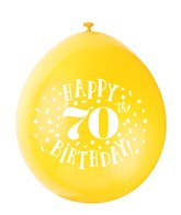 Assorted Colour 70th Birthday Latex Balloons 10pk