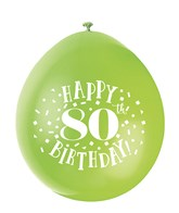 Assorted Colour 80th Birthday Latex Balloons 10pk