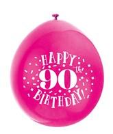 Assorted Colour 90th Birthday Latex Balloons 10pk