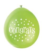 Assorted Colour Congrats Latex Balloons 10pk