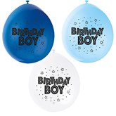Blue Assortment Birthday Boy Latex Balloons 10pk