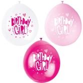 Pink Assortment Birthday Girl Latex Balloons 10pk