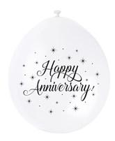 White Happy Anniversary Latex Balloons 10pk