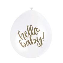 "White Hello Baby! 9"" Air Fill Latex Balloons 10pk"