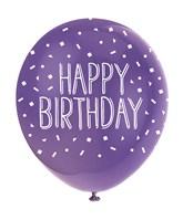 "Pearl Assorted Colour 12"" Birthday Latex Balloons 5pk"