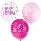 "Pearl Pink Assortment 12"" Birthday Latex Balloons 5pk"