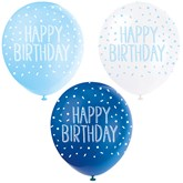 "Pearl Blue Assortment 12"" Birthday Latex Balloons 5pk"