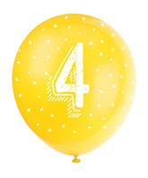 Pearlised Assorted Colour 4th Birthday Latex Balloons 5pk