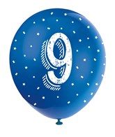 Pearlised Assorted Colour 9th Birthday Latex Balloons 5pk