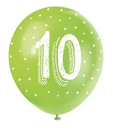 Pearlised Assorted Colour 10th Birthday Latex Balloons 5pk